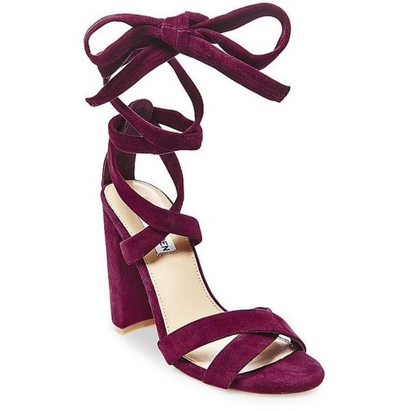 Christey Burgundy Suede Lace Up Heels